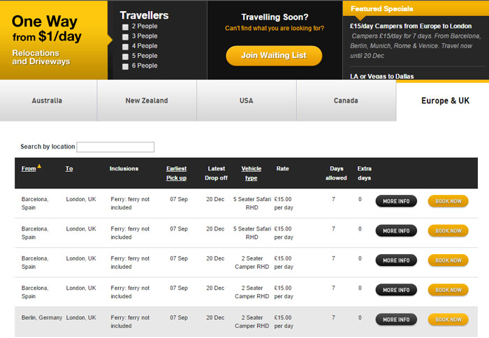 Screenshot iMoova car rental